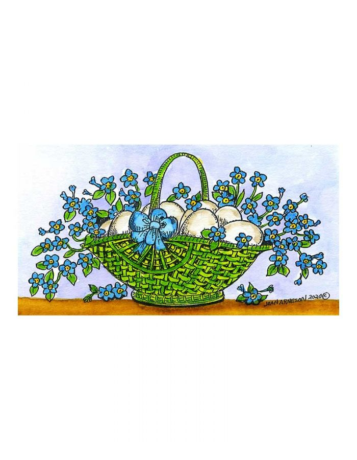 Basket Of Eggs And Forget Me Nots - J10758