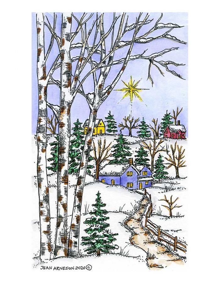 Birch And House Starry Night - NN10866