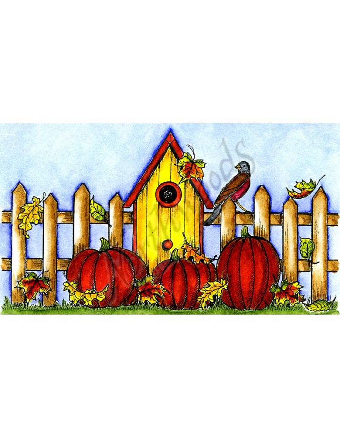 Birdhouse, Fence, Leaves and Pumpkins - NN10098