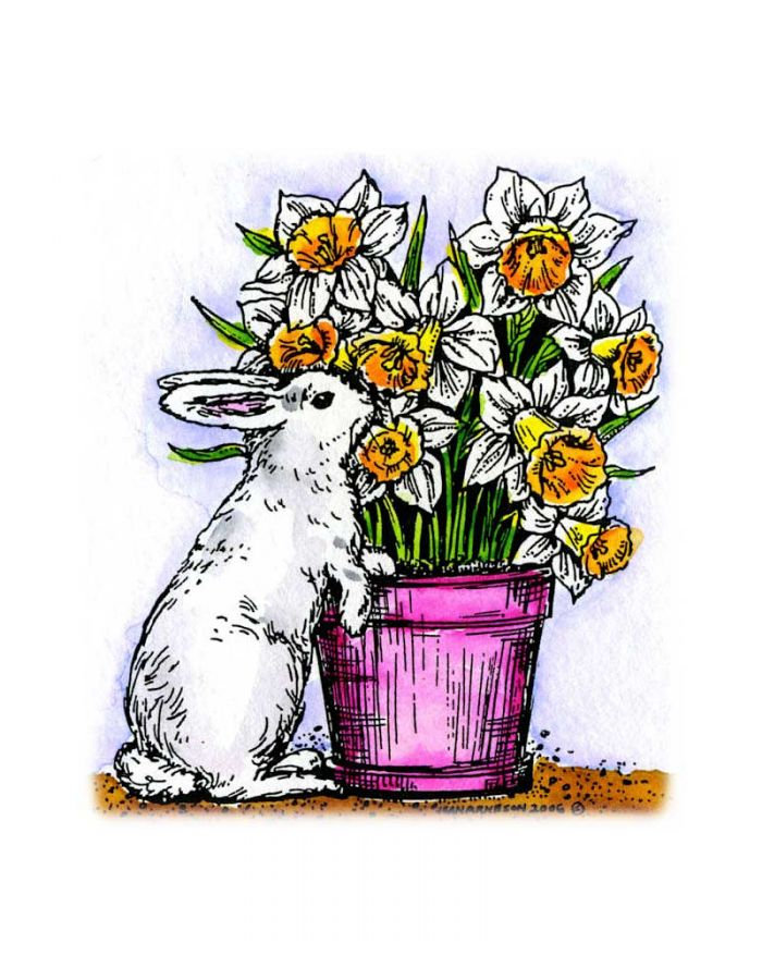 Bunny With Daffodil Pot - F4564
