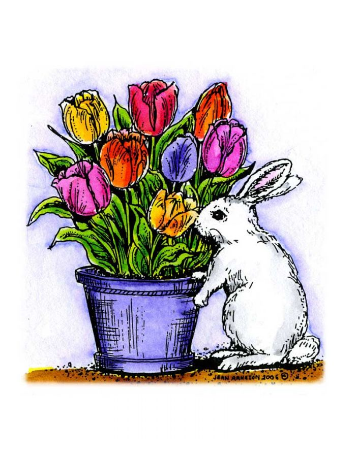 Bunny With Tulip Pot - F4563