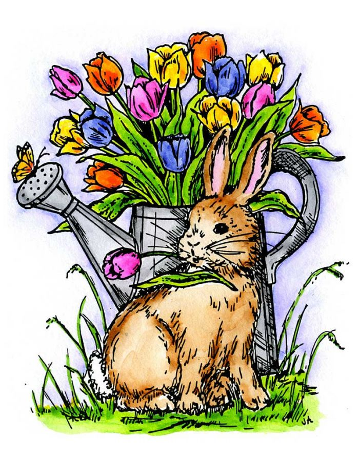 Bunny With Tulips in a Pitcher - P391