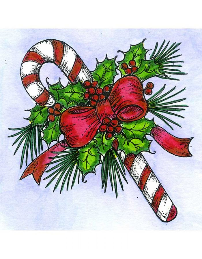 Candy Cane and Holly - M10845
