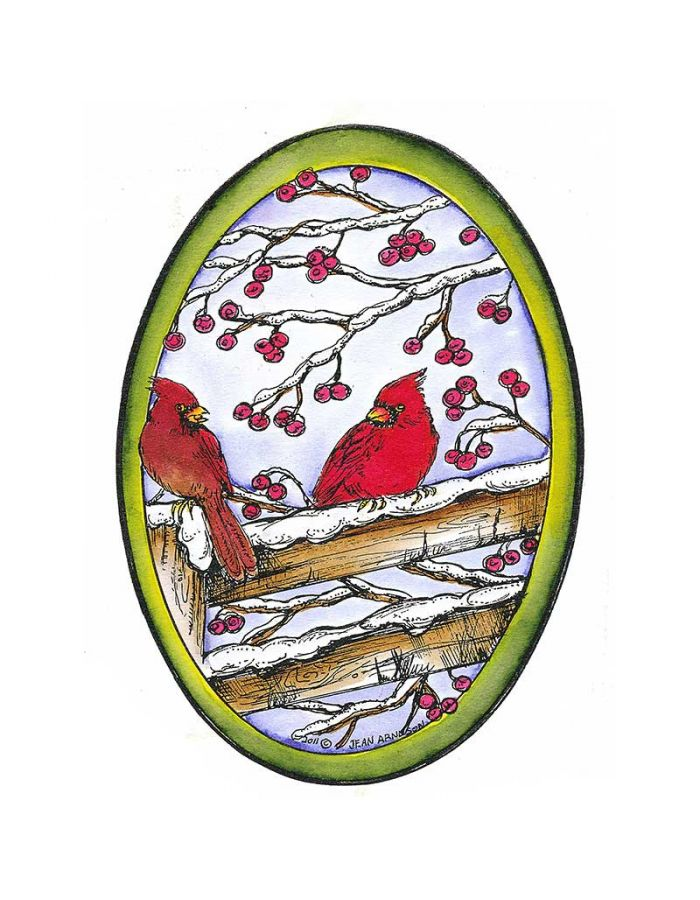 Cardinals on Fence With Berries - P8300