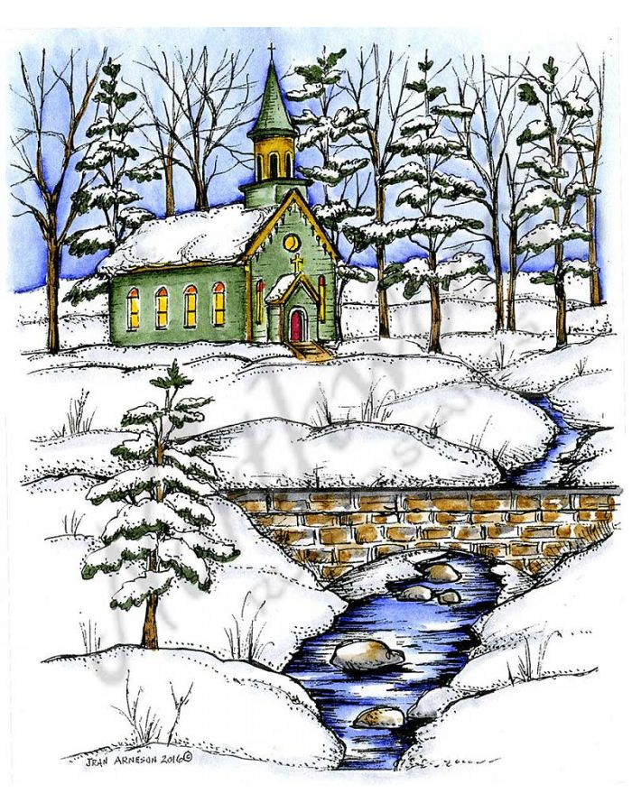 Church, Bridge and Spruce Tree - P10139