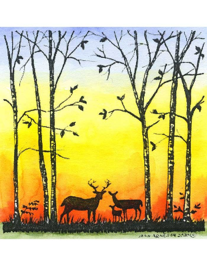 Deer and Birch Silhouette - MM10790