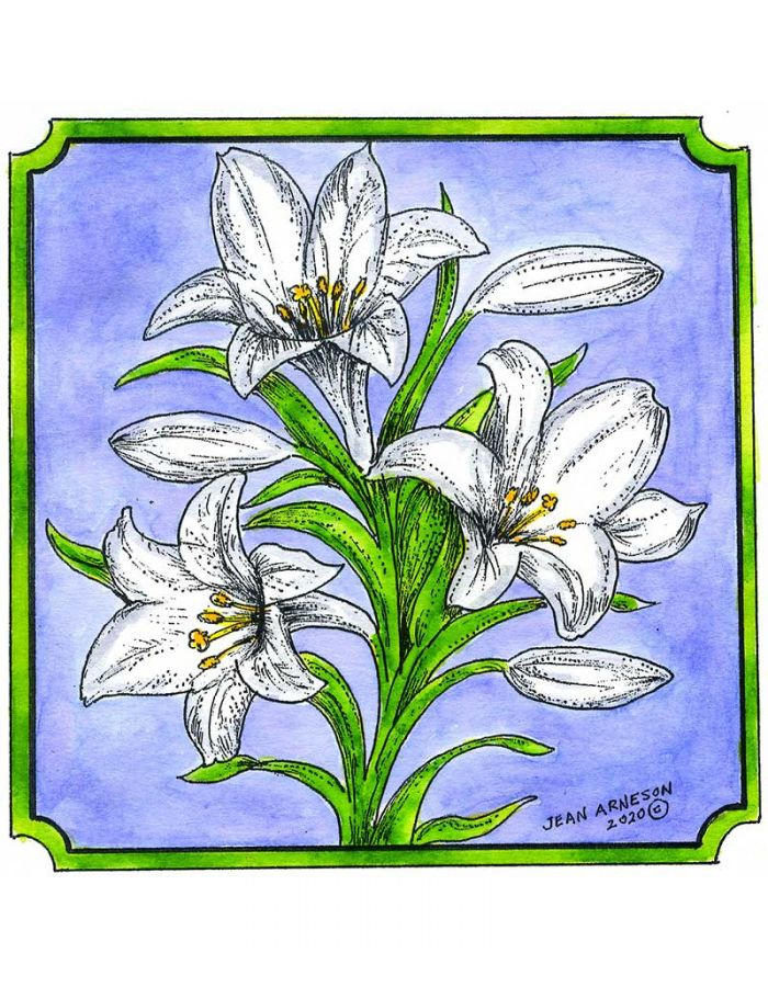Easter Lilies in Notched Square - PP10738