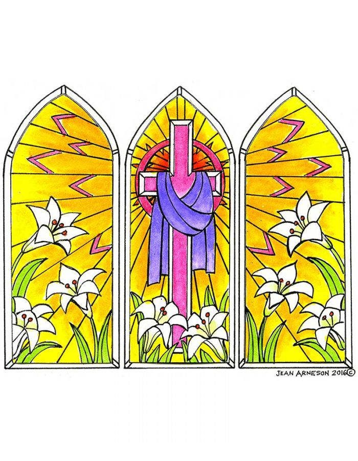 Easter Three Panel Stained Glass - P9944