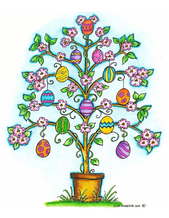 Easter Tree With Flowers and Eggs - P7940