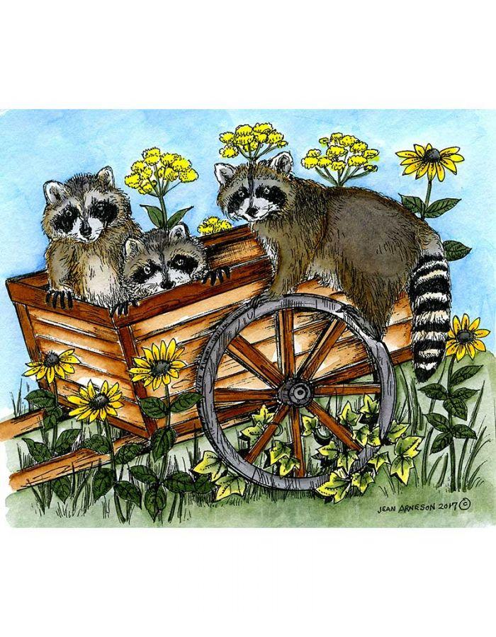 Eli's Raccoons On Cart - P10214