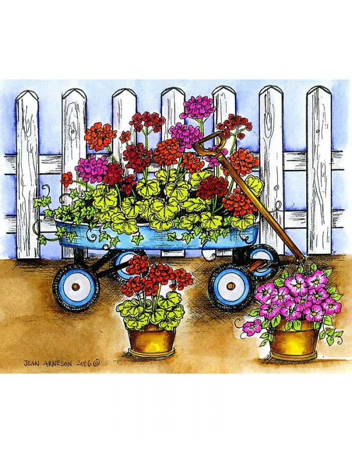 Geranium Wagon and Fence - P10000