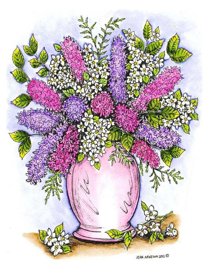 Hyacinth and Apple Blossom Vase - P8505