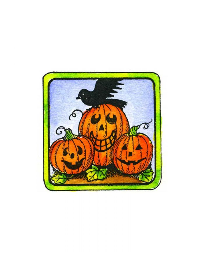 Jack O' Lanterns and Crow in Square Frame - C10480