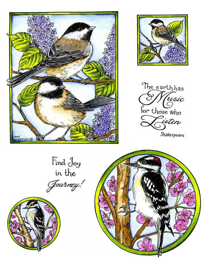 Chickadee & Woodpecker - NO-048