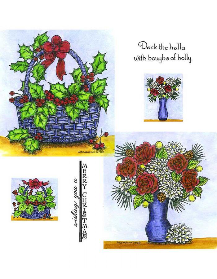 Holly Basket & Mum and Rose Vase - NO-066