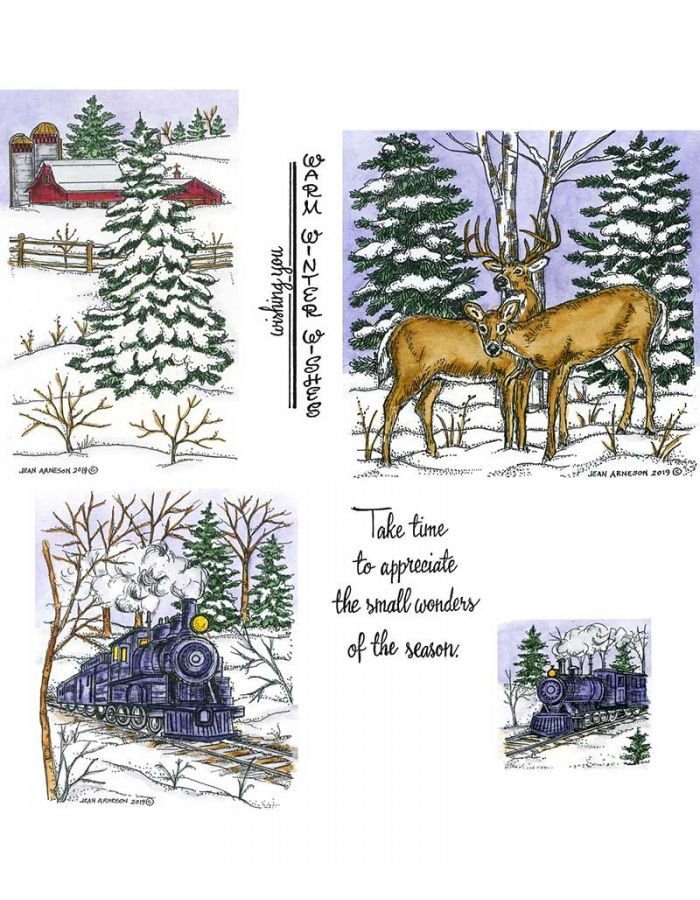 Train & Deer Pair and Spruce - NO-077