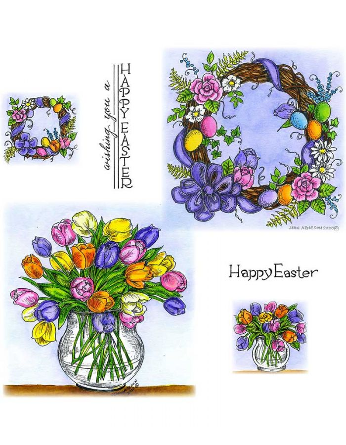Floral & Egg Grapevine Wreath, Tulip in Glass Vase - NO-080