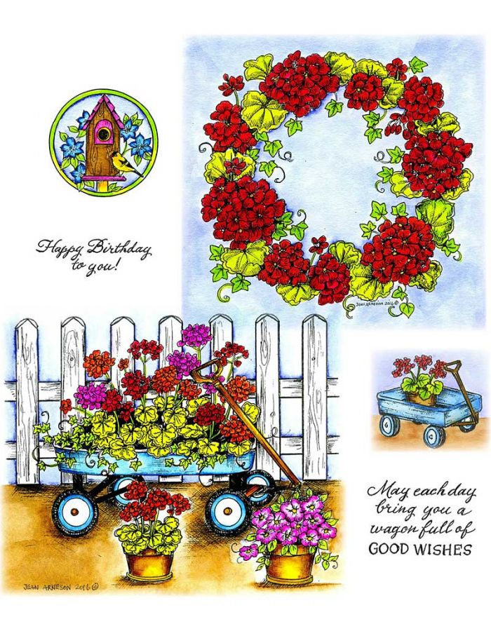 Geranium Wagon & Wreath - NO-084