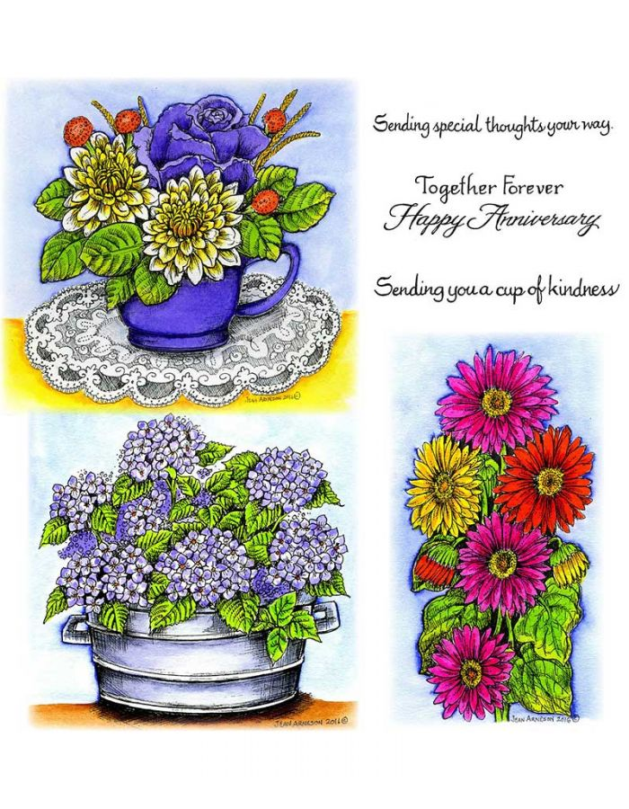 Cup of Flowers & Hydrangeas in Metal Tub - NO-087