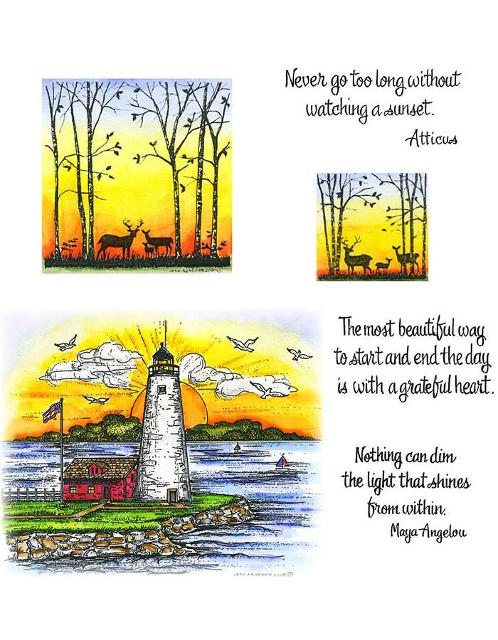 Lighthouse at Sunset, Deer & Birch Silhouette - NO-093