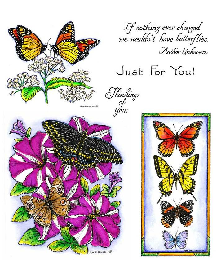 Monarchs on Flower & Petunias with Butterflies - NO-098