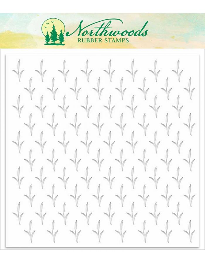 Cattail Background Stencil - NORST-04