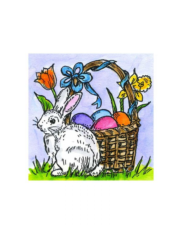 Small Easter Basket With Bunny - C10761