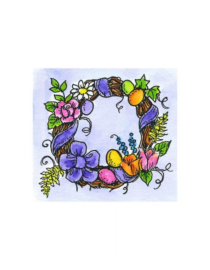 Small Floral and Egg Grapevine Wreath - C10742