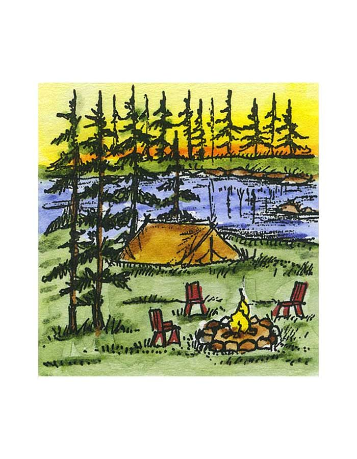 Small Tent, Pines and Stream - C10783