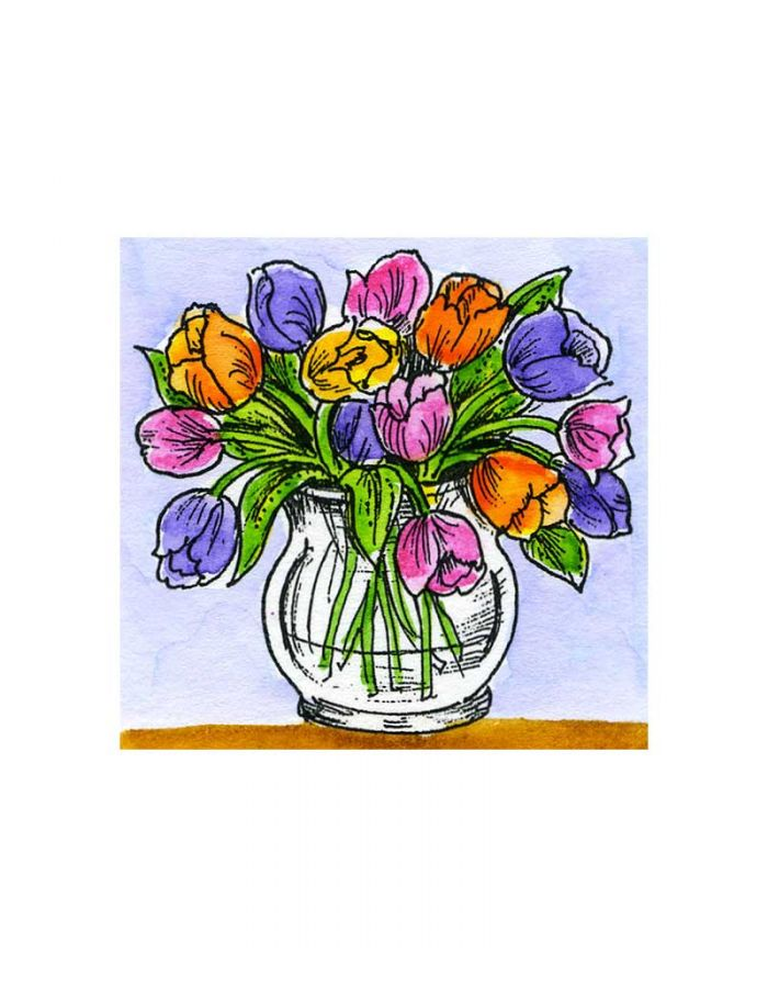 Small Tulips in Round Vase - C10740