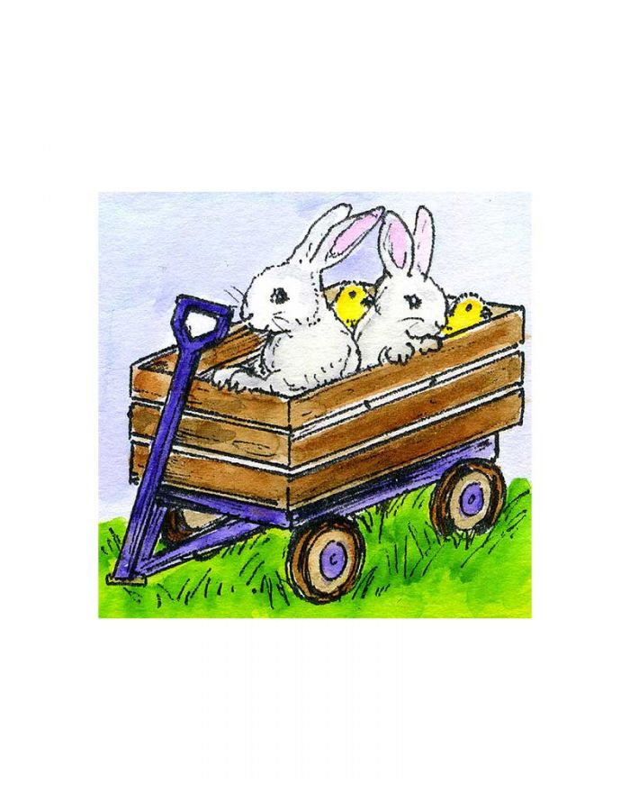 Small Wagon With Bunnies and Chicks - C10756