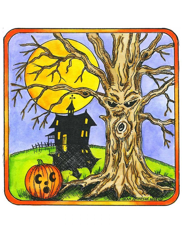 Spooky Tree In Square Frame - PP10643
