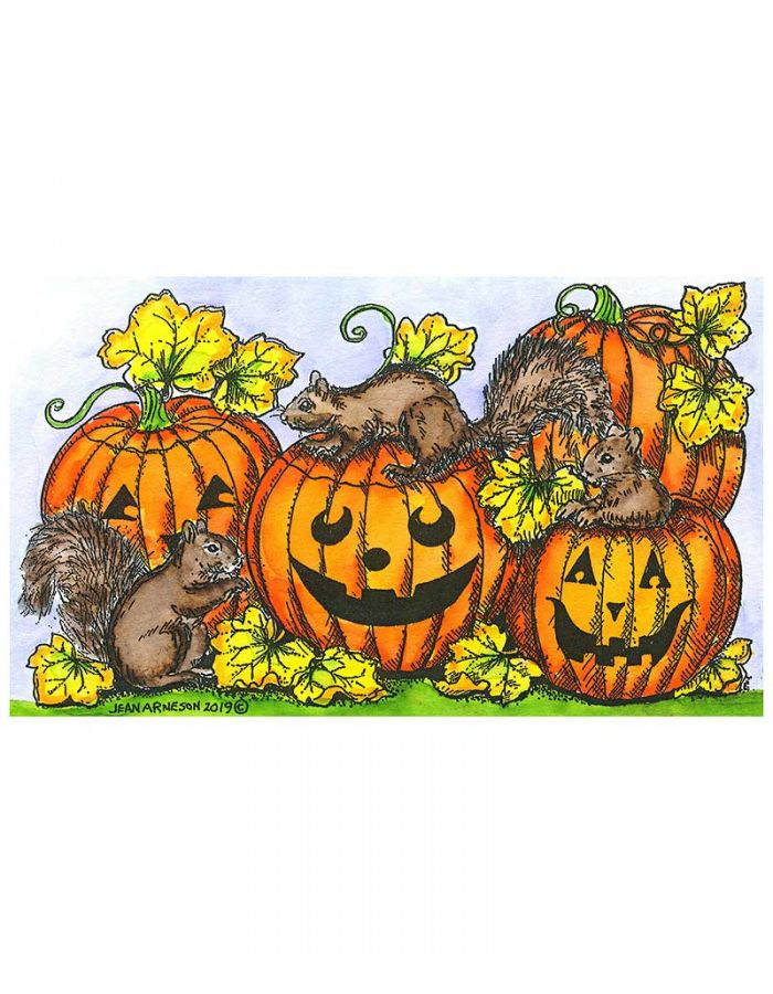 Squirrels on Jack 'O Lanterns - NN10648