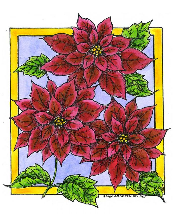 Three Poinsettias in Rectangle Frame - P10696