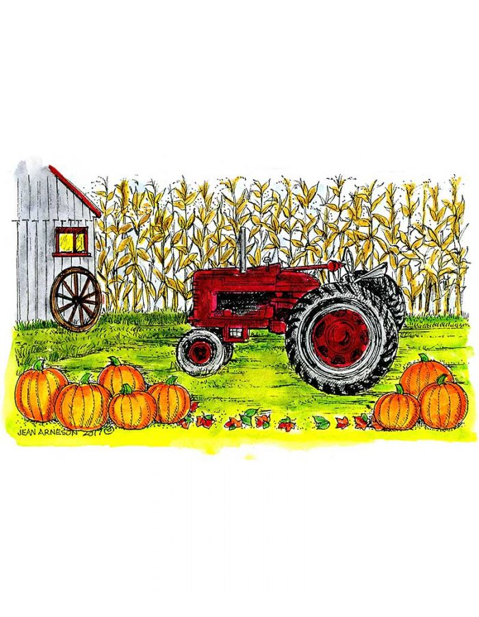 Tractor, Cornstalks and Shed - NN10302