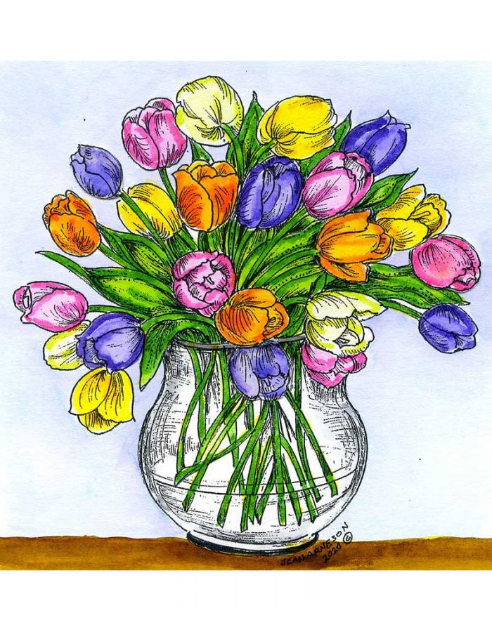 Tulips in Glass Round Vase - PP10739