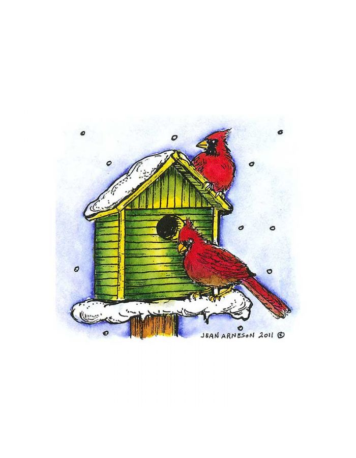 Two Cardinals on Birdhouse - CC8290