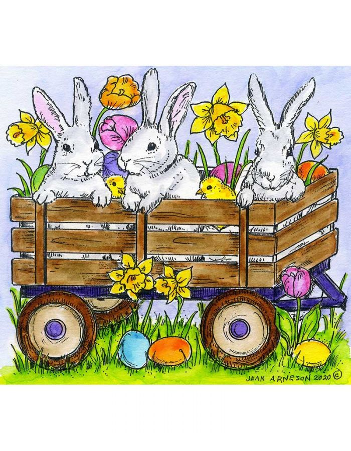Wagon With Bunnies and Chicks - PP10755