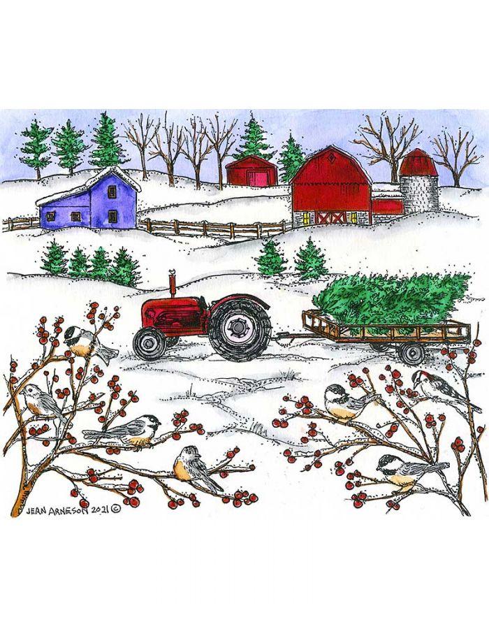 Winter Farm and Chickadees - P11059