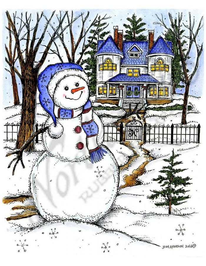 Winter Snowman and House Scene - P10137