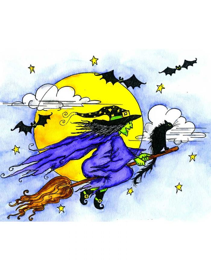 Witch, Cat, Bats and Moon - P10972