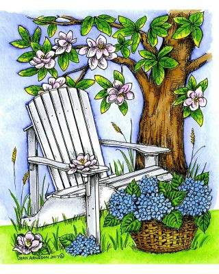 Adirondack Chair, Magnolia Tree and Hydrangea Basket - P10230