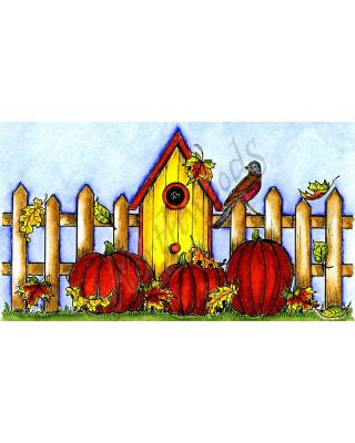Birdhouse, Fence, Leaves and Pumpkins - NN10098