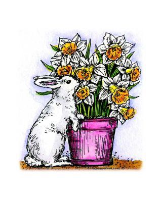 Bunny With Daffodil Pot - F4564