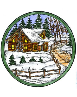 Cabin, Spruce and Road in Circle Frame - PP10549