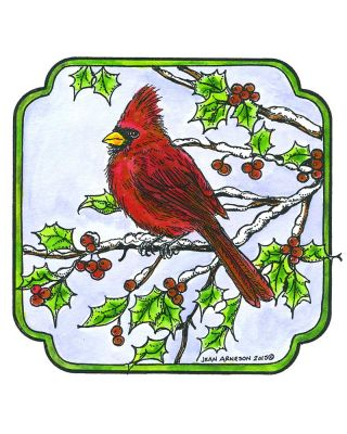 Cardinal and Holly in Curved Frame - PP10516