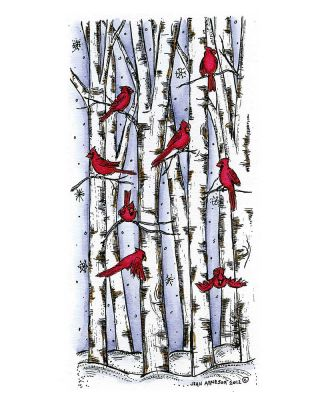 Cardinals on Birch Trees - O8887