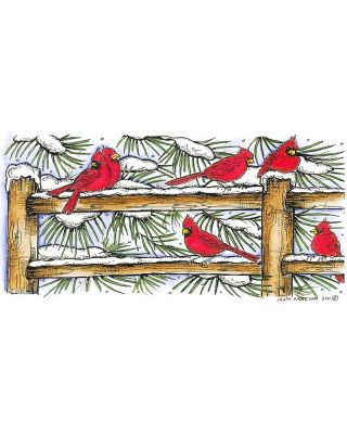 Cardinals on Snowy Fence - O8287