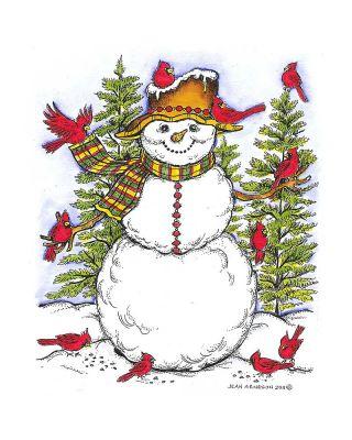 Cardinals Snowman - P8299