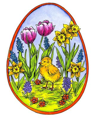 Chick and Spring Flowers in Egg - P9954
